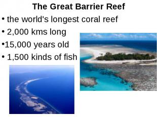 The Great Barrier Reef the world's longest coral reef 2,000 kms long 15,000 year