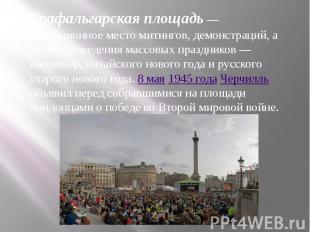 Трафальгарская площадь— традиционное место митингов, демонстраций, а также