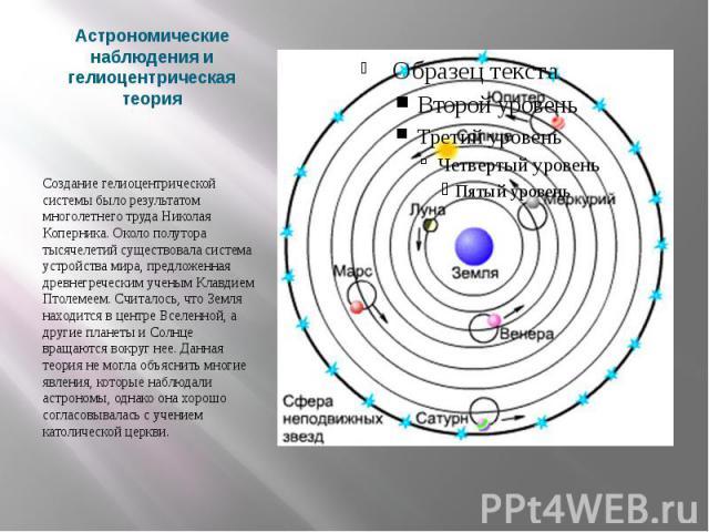 Астрономические наблюдения и гелиоцентрическая теория Создание гелиоцентрической системы было результатом многолетнего труда Николая Коперника. Около полутора тысячелетий существовала система устройства мира, предложенная древнегреческим ученым Клав…