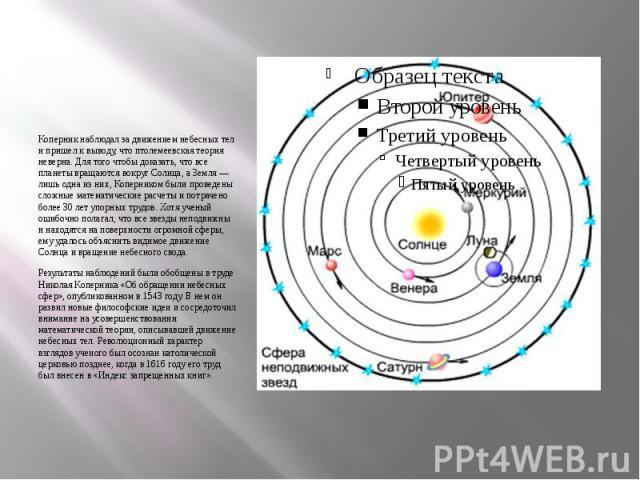 Коперник наблюдал за движением небесных тел и пришел к выводу, что птолемеевская теория неверна. Для того чтобы доказать, что все планеты вращаются вокруг Солнца, а Земля — лишь одна из них, Коперником были проведены сложные математические расчеты и…