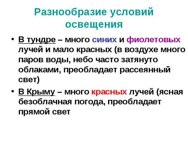 Разнообразие условий освещения В тундре – много синих и фиолетовых лучей и мало красных (в воздухе много паров воды, небо часто затянуто облаками, преобладает рассеянный свет) В Крыму – много красных лучей (ясная безоблачная погода, преобладает прям…