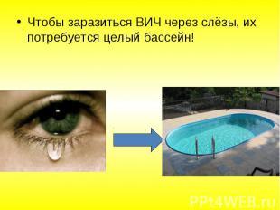 Чтобы заразиться ВИЧ через слёзы, их потребуется целый бассейн! Чтобы заразиться