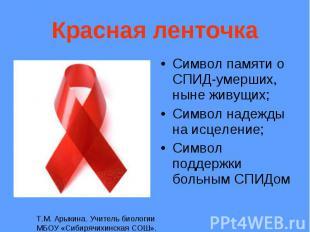 Символ памяти о СПИД-умерших, ныне живущих; Символ памяти о СПИД-умерших, ныне ж