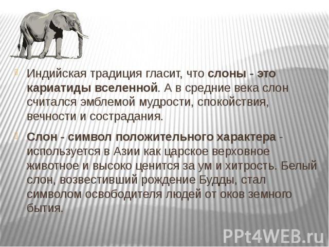 Индийская традиция гласит, что слоны - это кариатиды вселенной. А в средние века слон считался эмблемой мудрости, спокойствия, вечности и сострадания. Индийская традиция гласит, что слоны - это кариатиды вселенной. А в средние века слон считался эмб…