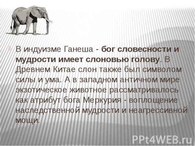 В индуизме Ганеша - бог словесности и мудрости имеет слоновью голову. В Древнем Китае слон также был символом силы и ума. А в западном античном мире экзотическое животное рассматривалось как атрибут бога Меркурия - воплощение наследственной мудрости…