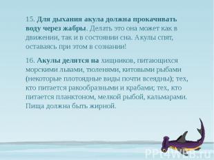 15. Для дыхания акула должна прокачивать воду через жабры. Делать это она может