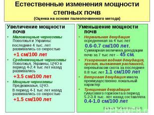 Увеличение мощности почв Увеличение мощности почв Маломощные черноземы Поволжья