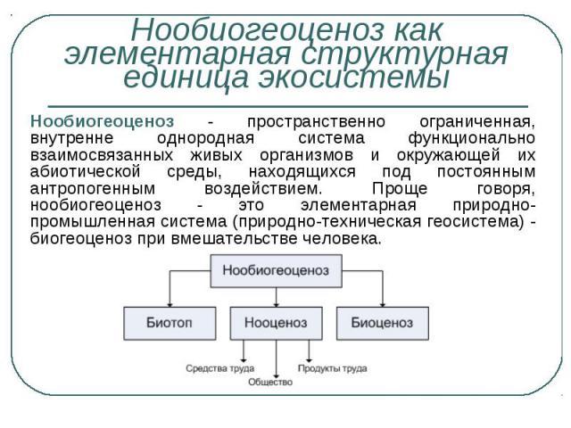 Нообиогеоценоз - пространственно ограниченная, внутренне однородная система функционально взаимосвязанных живых организмов и окружающей их абиотической среды, находящихся под постоянным антропогенным воздействием. Проще говоря, нообиогеоценоз - это …
