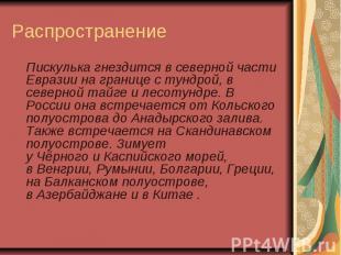Распространение Пискулька гнездится в северной части Евразии на границе ст
