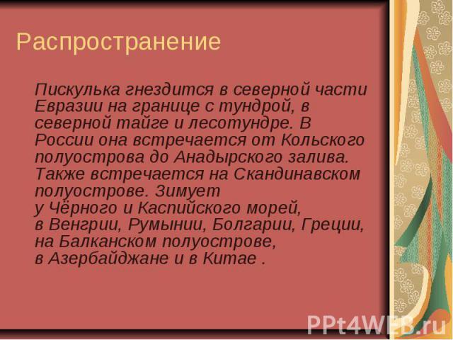 Распространение Пискулька гнездится в северной части Евразии на границе стундрой, в севернойтайгеилесотундре. В России она встречается от Кольского полуостровадоАнадырского залива. Также встречается наСканди…