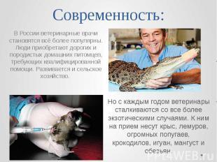 Современность: Но с каждым годом ветеринары сталкиваются со все более экзотическ