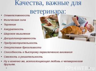 Качества, важные для ветеринара: Ответственность Физическая сила Терпение Аккура