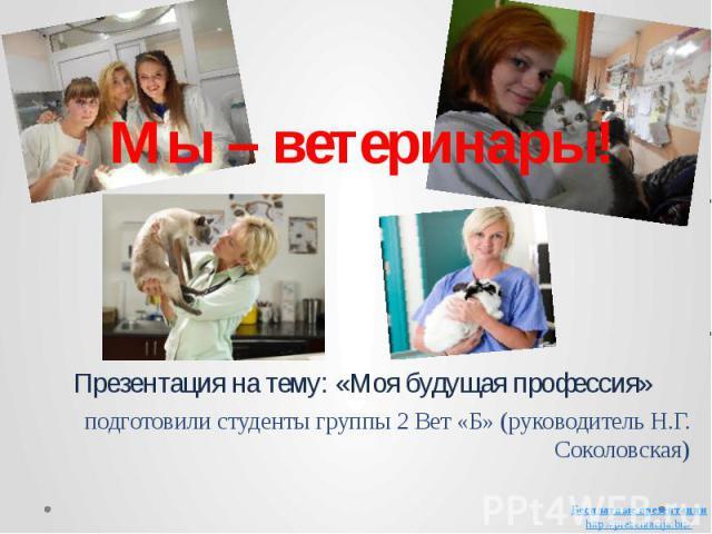 Мы – ветеринары! Презентация на тему: «Моя будущая профессия» подготовили студенты группы 2 Вет «Б» (руководитель Н.Г. Соколовская)