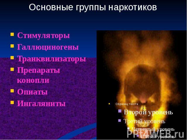 Стимуляторы Галлюциногены Транквилизаторы Препараты конопли Опиаты Ингаляниты