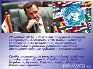 22 ноября 2011г. - Комитет по правам человека Генеральной Ассамблеи ООН большинс