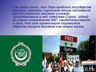 Сам факт того, что Лига арабских государств активно занялась сирийским досье, по