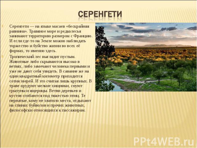 Серенгети — на языке масаев «бескрайняя равнина». Травяное море и редколесья занимают территорию размером с Францию. И если где-то на Земле можно наблюдать торжество и буйство жизни во всех её формах, то именно здесь. Серенгети — на языке масаев «бе…