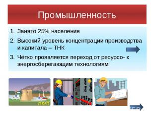 Промышленность Занято 25% населения Высокий уровень концентрации производства и