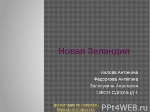 Новая Зеландия Нилова Антонина Федоркова Ангелина Зелепукина Анастасия 14КСП-СДО