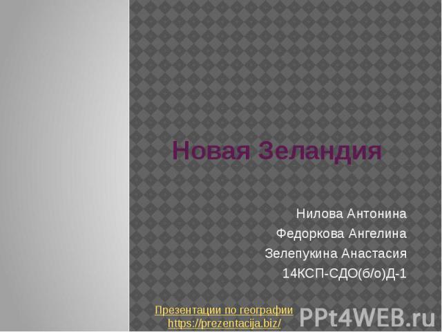 Новая Зеландия Нилова Антонина Федоркова Ангелина Зелепукина Анастасия 14КСП-СДО(б/о)Д-1