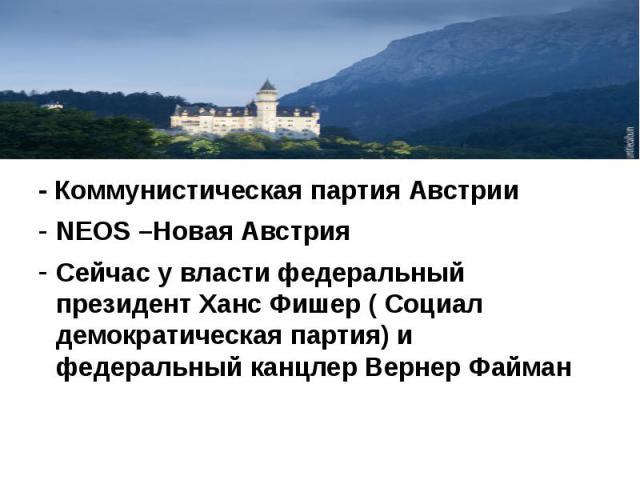 - Коммунистическая партия Австрии NEOS –Новая Австрия Сейчас у власти федеральный президент Ханс Фишер ( Социал демократическая партия) и федеральный канцлер Вернер Файман