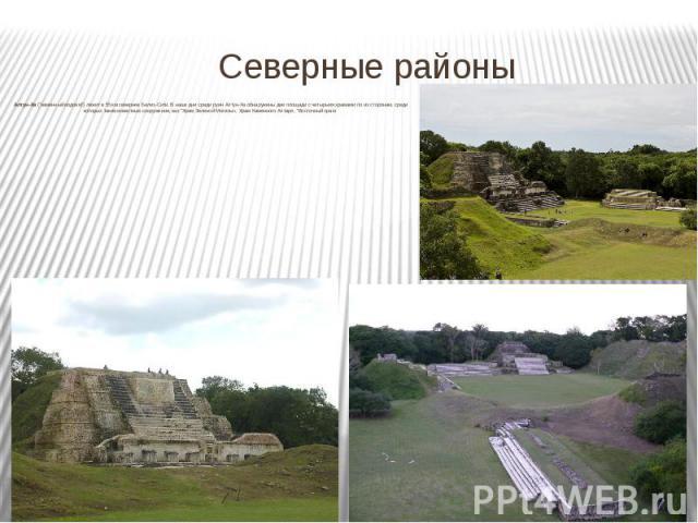 """Северные районы Алтун-Ха (""""каменный водоем"""") лежит в 55 км севернее Белиз-Сити. В наши дни среди руин Алтун-Ха обнаружены две площади с четырьмя храмами по их сторонам, среди которых такие известные сооружения, как """"Храм Зеленой Могил…"""