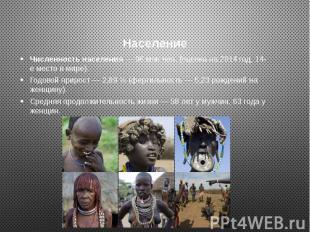 Население Численность населения — 96 млн чел. (оценка на 2014 год, 14-е место в