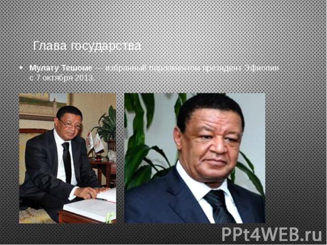 Глава государства Мулату Тешоме — избранный парламентом президент Эфиопии с 7 октября 2013.