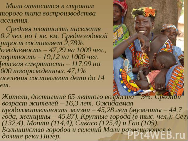Мали относится к странам второго типа воспроизводства населения. Мали относится к странам второго типа воспроизводства населения. Средняя плотность населения – 10,2 чел. на 1 кв. км. Среднегодовой прирост составляет 2,78%. Рождаемость – 47,29 на 100…