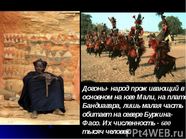 Догоны- народ проживающий в основном на юге Мали, на плато Бандиагара, лишь малая часть обитает на севере Буркина-Фасо. Их численность - 600 тысяч человек.