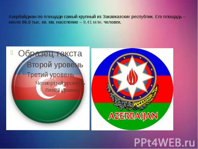 Азербайджан по площади самый крупный из Закавказских республик. Его площадь – около 86,6 тыс. кв. км, население – 9,41 млн. человек.
