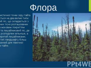 Флора З флористичної точки зору тайга поділяється на два великі типи: закритий л