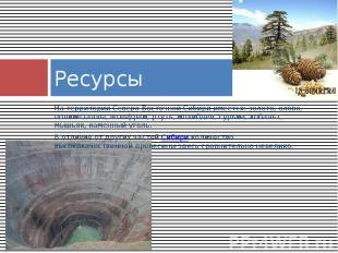 Ресурсы На территории Северо-Восточной Сибири имеется: золото, олово, полиметалл