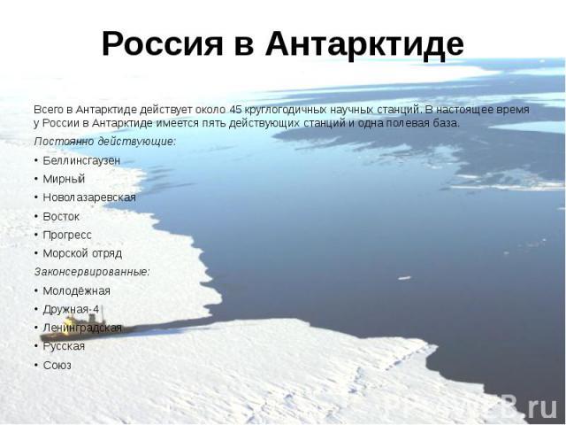 Россия в Антарктиде Всего в Антарктиде действует около 45 круглогодичных научных станций. В настоящее время у России в Антарктиде имеется пять действующих станций и одна полевая база. Постоянно действующие: Беллинсгаузен Мирный Новолазаревская Восто…