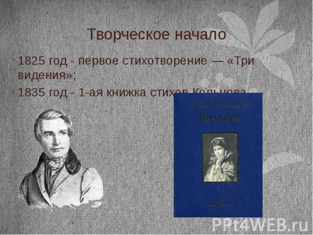 Творческое начало 1825 год - первое стихотворение— «Три видения»; 1835 год - 1-ая книжка стихов Кольцова