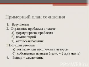 1. Вступление 1. Вступление 2. Отражение проблемы в тексте: а) формулировка проб