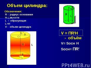 Обозначения: Обозначения: R - радиус основания H - высота L - образующая L=H V -