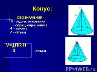 ОБОЗНАЧЕНИЯ: ОБОЗНАЧЕНИЯ: R - радиус основания L - образующая конуса H – высота