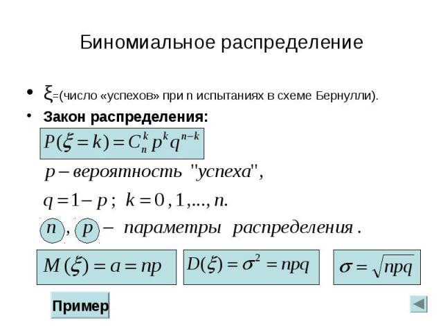 ξ=(число «успехов» при n испытаниях в схеме Бернулли). ξ=(число «успехов» при n испытаниях в схеме Бернулли). Закон распределения: