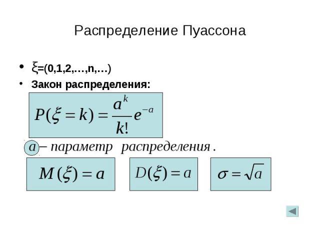 ξ=(0,1,2,…,n,…) ξ=(0,1,2,…,n,…) Закон распределения: