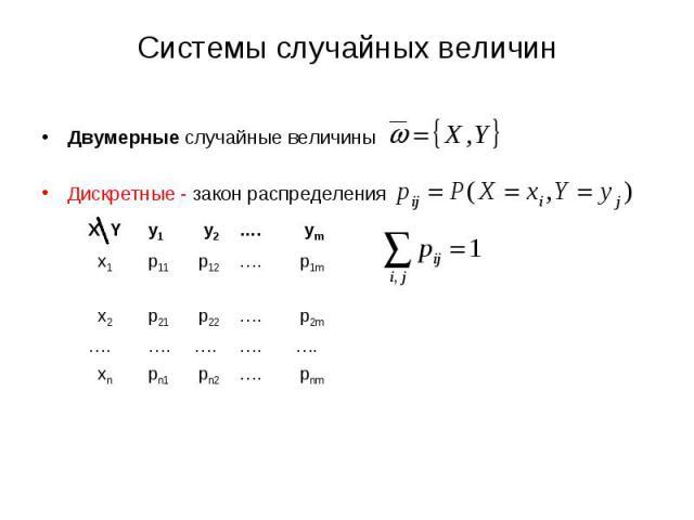 Двумерные случайные величины Двумерные случайные величины Дискретные - закон распределения