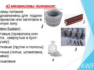Механизмы питания предназначены для подачи материалов или заготовок в рабочую зо