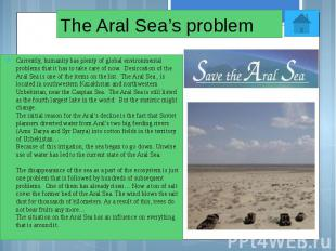 The Aral Sea's problem Currently, humanity has plenty of global environmental pr
