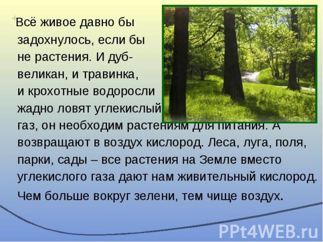 Всё живое давно бы Всё живое давно бы задохнулось, если бы не растения. И дуб- великан, и травинка, и крохотные водоросли жадно ловят углекислый газ, он необходим растениям для питания. А возвращают в воздух кислород. Леса, луга, поля, парки, сады –…