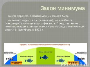 Закон минимума Таким образом, лимитирующим может быть не только недостаток (мини