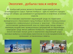 Экология , добыча газа и нефти Ноябрьский регион является базовой территорией до