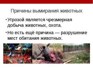 Причины вымирания животных Угрозой является чрезмерная добыча животных, охота. Н