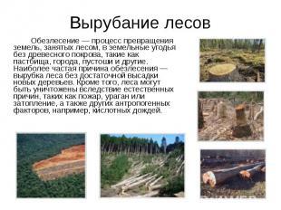 Обезлесение — процесс превращения земель, занятых лесом, в земельные угодья без
