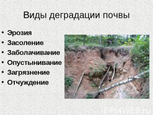 Виды деградации почвы Эрозия Засоление Заболачивание Опустынивание Загрязнение О