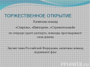 ТОРЖЕСТВЕННОЕ ОТКРЫТИЕ Капитаны команд «Спартак», «Виктория», «Стремительный» по